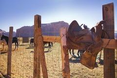 Selle indienne à la vallée de monument Image stock