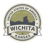 Selle o etiqueta con el nombre de Wichita, Kansas ilustración del vector