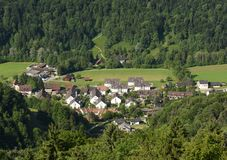 Sellenbüren village near Zurich, Switzerland, top view from Uet. Liberg Stock Photos