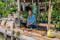 Seller Amphawa bangkok floating market Thailand Royalty Free Stock Photos