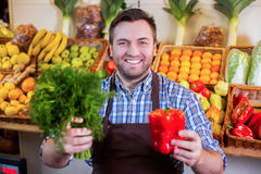 Seller in apron showing fresh vegetables. Smiling seller in apron showing fresh vegetables at grossery shop. Boxes with fruits and vegetables on the background Stock Image