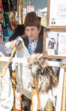 Seller bagpipes at the folklor Festival of Rozhen 2015 Royalty Free Stock Photography