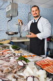 Seller behind scales and fish counter showing fish Stock Photography