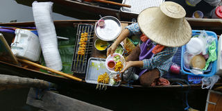 Seller on boat. Floating market ,Thailand stock photography