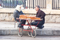 Seller of bread in the city of Aleppo Royalty Free Stock Photo