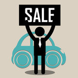 Seller and cartel. Seller with sale cartel trying to sell a classic car Stock Photography