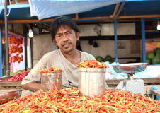 Seller of chilli paprikas Royalty Free Stock Photo