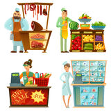 Seller Counter Service  4 Cartoon Compositions Set. Traditional counter service shops sellers at work 4 cartoon compositions icons with butcher and grocery store Stock Photos