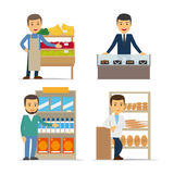 Seller at the counter vector illustration Stock Photos