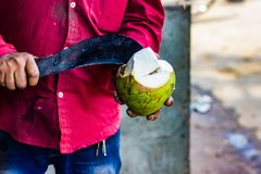 Seller cutting a raw coconut shell with sickle to take out cocon. Ut water Royalty Free Stock Images