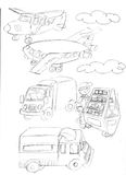 Seller of drinks, vans, airplanes ,sketches and pencil sketches and doodles Stock Image
