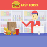 Seller fast food and tray with cola, hamburger, french fries Stock Photos