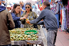 Seller of figs of india in the medina of Essaouira royalty free stock images