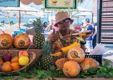 Seller of fruit on New public beach - Jumeirah Beach Residence J Stock Photo