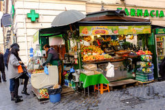 Seller of fruits and vegetables Stock Photos