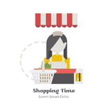 Seller the girl behind the counter. Seller the girl behind the counter with shopping cart and credit card. Flat Vector Illustration royalty free illustration