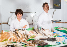 The seller and his assistant. Sell fresh sea fish in the store Royalty Free Stock Photos