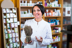 Seller holding dried herbs Royalty Free Stock Photos