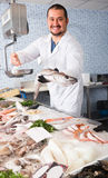Seller holding fish Stock Photography