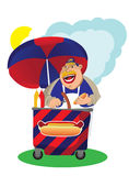 Seller of hot dogs. Fat man selling hot dog Stock Image