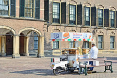 Seller of ice-cream in Hague, Netherlands Stock Images