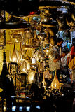 Seller of iron lamps in the souk of Marrakech royalty free stock images