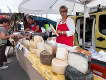 Seller of Italian cheeses Stock Photos