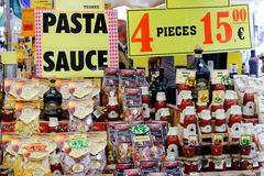 Seller of Italian pasta and sauces Stock Photos