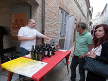 Seller of Italian wines Stock Images