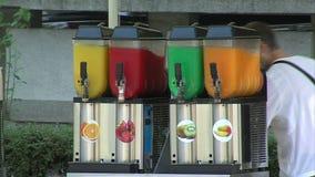 Seller juice on the street Varna, Bulgaria stock video footage