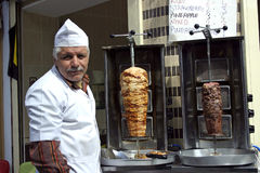 Seller kebap Istanbul. Seller kebap on the streets of Istanbul. The kebap can be both chicken and meat stock photos