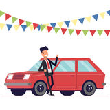 Seller is leaning on the car. Businessman next to the machine. Garland of flags. Vector, illustration EPS10. Stock Image