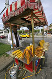 Seller maize in Istanbul. A seller maize in Istanbul ambulante cart royalty free stock photo
