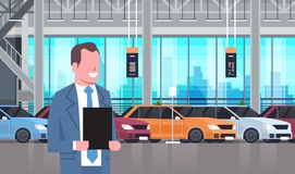 Seller Man In Cars Dealership Center Showroom Interior Over Set Of New Modern Vechicles. Flat Vector Illustration Royalty Free Stock Photography
