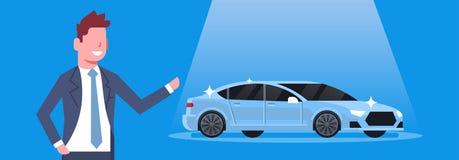 Seller Man Present New Car Dealership Center Showroom Concept Horizontal Banner. Flat Vector Illustration Royalty Free Stock Image