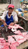 Seller of the meat in Colombia Stock Image