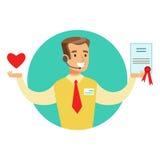 Seller Offering Life Insurance Contract, Insurance Company assiste l'illustrazione di Infographic Fotografia Stock