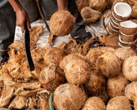 Seller opens tropical coconuts Royalty Free Stock Photos