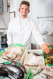 Seller posing near cooled fish Royalty Free Stock Image