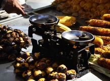 Seller of roasted corn and chestnuts, Istanbul, Turkey royalty free stock photo