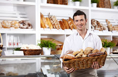 The seller in shop Stock Image