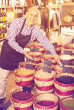 Seller showing dried beans on bazar Royalty Free Stock Photo