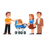 Seller showing newborn baby stroller to customers Royalty Free Stock Photo