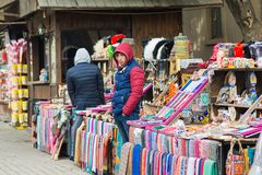 Seller of souvenirs on the street Royalty Free Stock Image