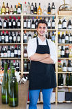 Seller standing in alcohol section. Male seller in apron standing in alcohol section in store Stock Photography