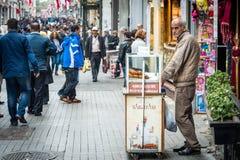 Seller of stuffed meatballs on istiklal street Royalty Free Stock Photo