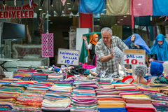 Seller in the Turkish market in Istanbul Royalty Free Stock Photo