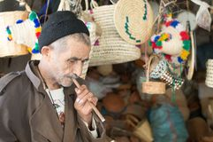 Seller of Moroccan pipes. stock image