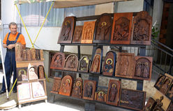 Seller of woodcarved icons  in Ohrid,Macedonia Stock Image
