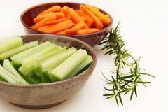 Sellerie, Karotten und Rosmarin Stockbild